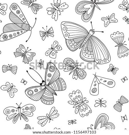 butterflies seamless pattern in