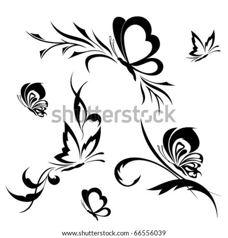 Butterflies with a flower pattern - stock vector