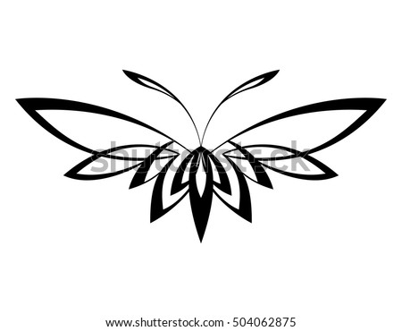 butterfly abstract black white. Abstract black and white images. Insect symbol.