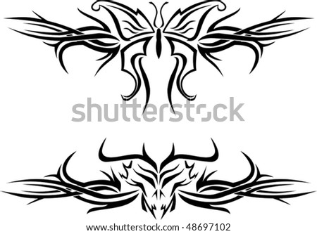 stock vector Butterfly and evil skull tattoos with tribal designs