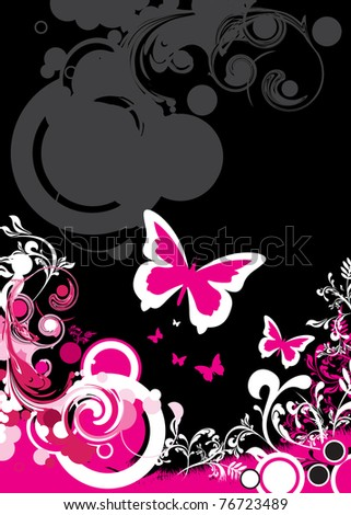 butterfly and floral background