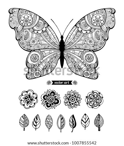 Butterfly and flowers. Set collection. Vector artwork. Black and white, monochrome.