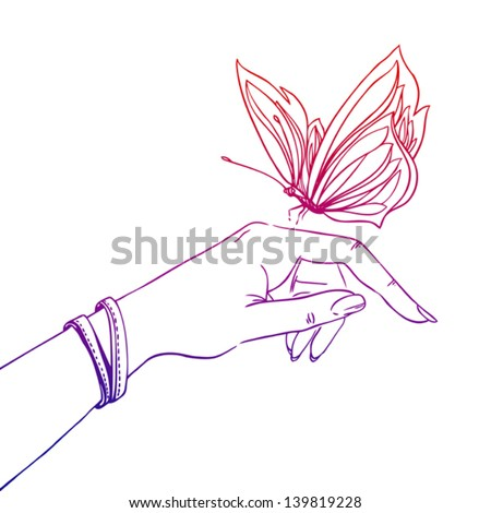 butterfly and hand of young girl