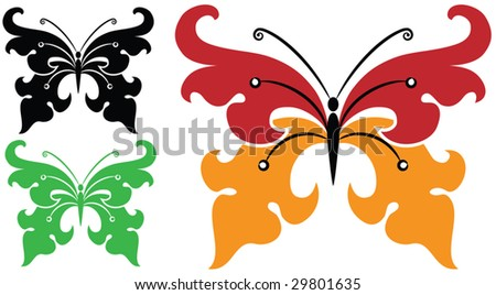 stock vector : Butterfly artistic Tattoo