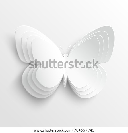 Butterfly. Beautiful paper butterfly on a white background. Greeting card with paper butterfly. Illustration