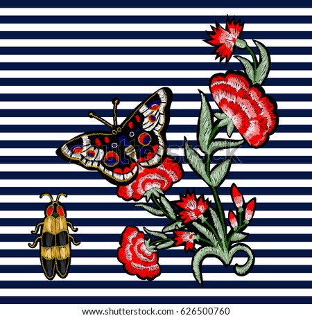 Butterfly, beetle and flowers embroidery. Vector  decorative element for embroidery, patches and stickers.