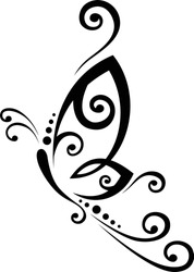 Butterfly Black and White Tribal Tattoo