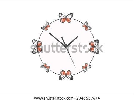 butterfly clock design hand drawn vector Butterfly print, Butterfly poster, green butterflies wall decor, scientific butterflies chart, vintage butterfly