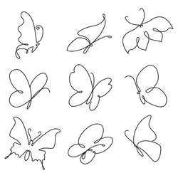 Butterfly continuous line drawing elements set isolated on white background. Vector illustration.