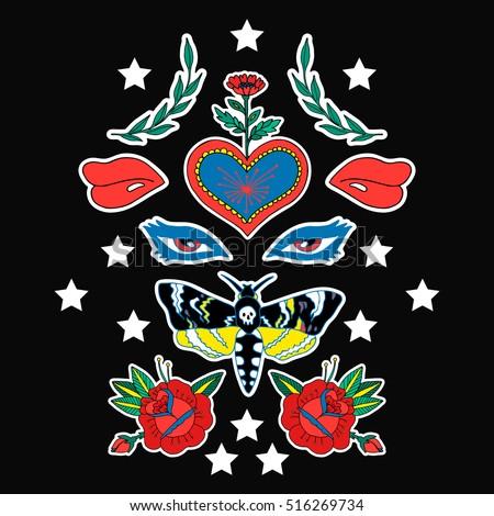 butterfly  eye  heart and lips