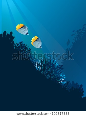 Butterfly fishes. The vector illustration of pair of Butterfly fishes in corals.
