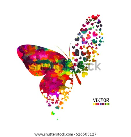 butterfly from hearts vector
