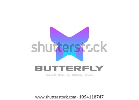 Stock Photo Butterfly geometric design abstract Logo vector template. Letter X violet technology style Logotype concept icon.