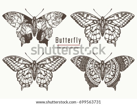 Butterfly hand drawn collection. Beautiful Swallowtail boho t-shirt design. Mystical esoteric symbol of freedom, travel, tourism