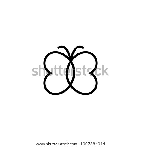 Butterfly icon. Abstract modern decoration. Vector illustration. One line drawing. Fancy line art. Black and white. Trendy concept for logo, card, banner, poster flyer