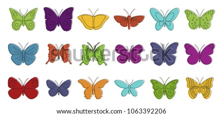 Butterfly icon set. Color outline set of butterfly vector icons for web design isolated on white background