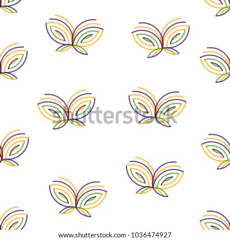 Butterfly icon vector seamless pattern. Color lines.