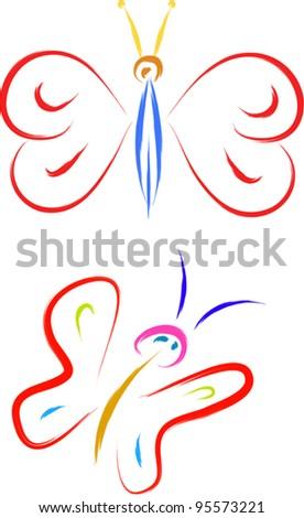 butterfly illustration - stock vector