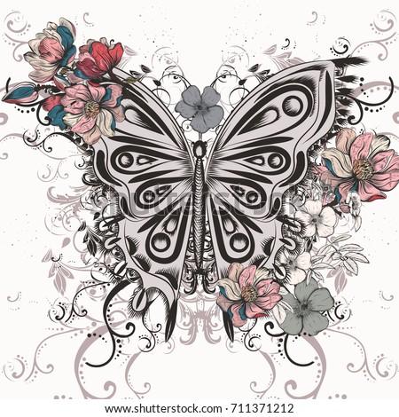 butterfly illustration in swirl
