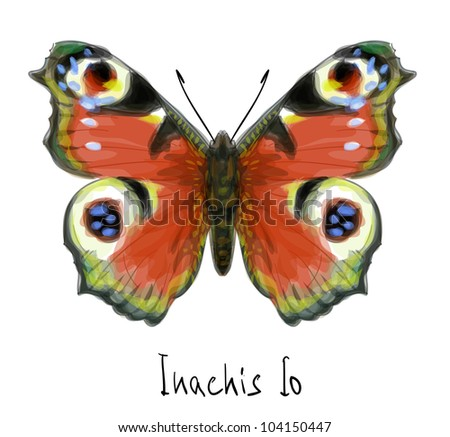 Butterfly Inachis Io. Watercolor imitation. Vector illustration.