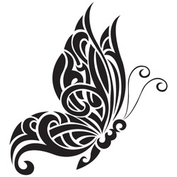 Butterfly is black, the silhouette is drawn with various lines in the Celtic style. Tattoo, animal logo, fashion design, emblem, sticker, album, paper, banner, print. Isolated vector illustration