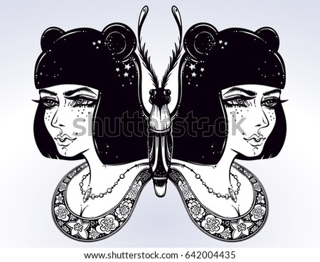 butterfly is drawn in a boho