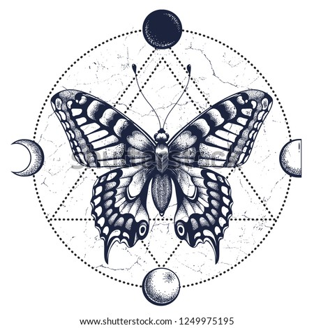 Butterfly is inscribed in circle of moon phases. Tattoo Design. T-shirt design. Symbol of soul, immortality, rebirth and resurrection