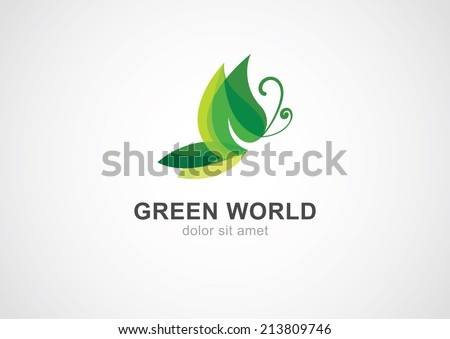 Butterfly leaf eco concept. Abstract vector logo design template.