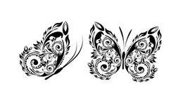 Butterfly made of patterns. Vector