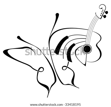 stock vector : Butterfly music tattoo - Vector abstract composition with