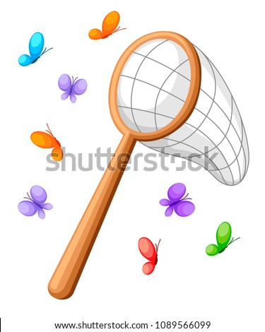Butterfly net and colorful butterflies. Classic net design, wooden handle. Vector illustration isolated on white background.