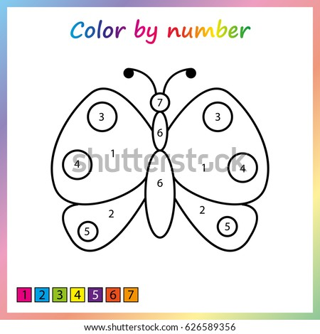 butterfly - painting page, color by numbers. Worksheet for education. Game for preschool kids.