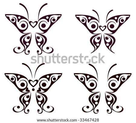 stock vector : Butterfly pattern tattoo - vector design element