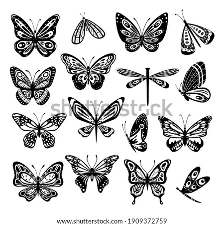 Butterfly. Silhouette icons set of spring butterflies.Carve collection. Stencil butterfly, fireflies, moth wings, flying insects isolated on white background. Hand drawn element for web, tattoo sketch