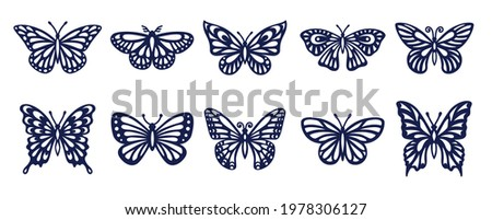 Butterfly silhouette set. Vector monochrome illustration isolated on white background. Various moths. Decorative design elements.