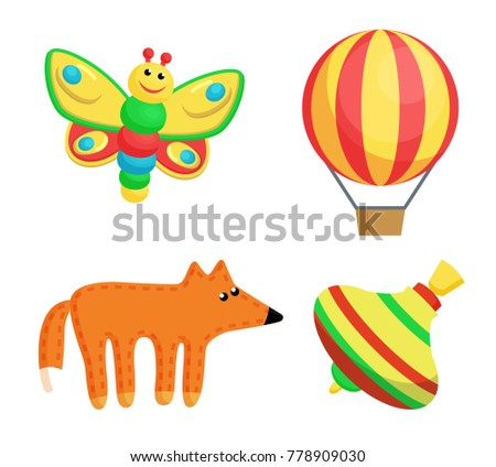 Stock Photo Butterfly smiling and balloon with tripes, fox and whirlabout, toys set produced at Santa Claus factory for childrens happiness vector illustration