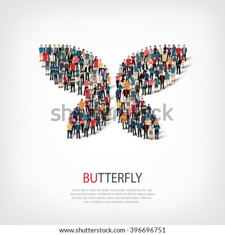 butterfly symbol people crowd