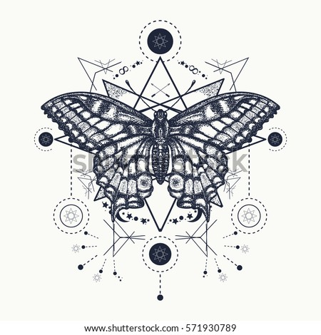 Butterfly tattoo geometrical style. Beautiful Swallowtail boho t-shirt design. Mystical esoteric symbol of freedom, travel, tourism. Realistic butterfly art tattoo for women