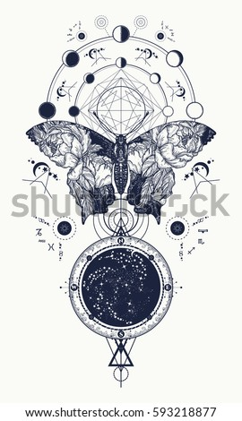 Butterfly tattoo in geometrical style t-shirt design, wings and roses, Esoteric symbol of freedom, magic, travel. Double exposure art
