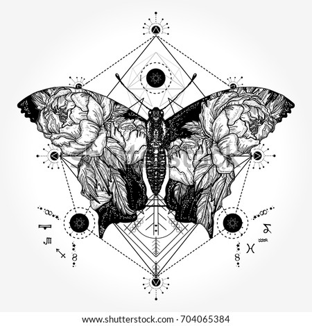 Butterfly tattoo in geometrical style. Tattoo for woman, style double exposure. Beautiful butterfly boho t-shirt design, wings and roses, symbol of freedom, travel