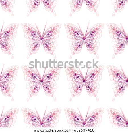 Butterfly. Vector illustration of seamless baby pattern with insect.