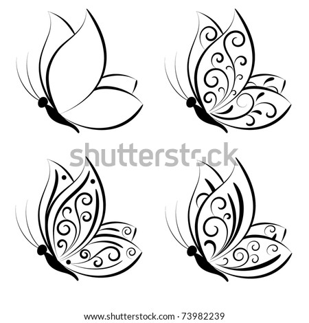 Butterfly. Vector set. - stock vector