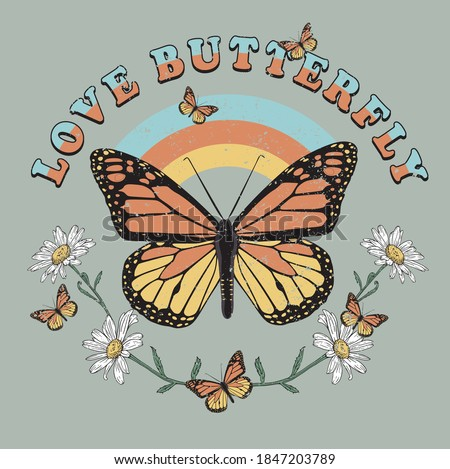 BUTTERFLY WILD DAISY FLOWER TSHIRT GRAPHICS DESIGNS