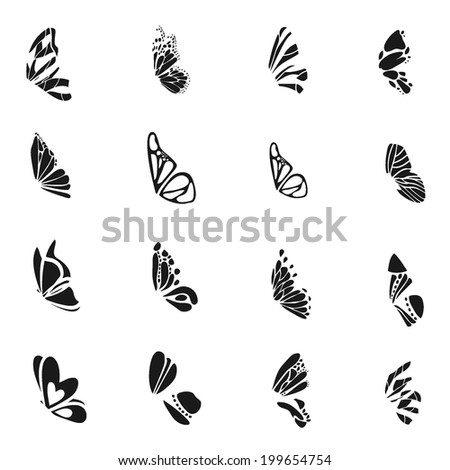 butterfly wings icon set 1