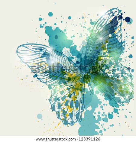 Stock Photo Butterfly with colorful spots, vector illustration.Eps10
