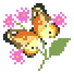 Butterfly with flower pattern. Pixel butterfly for cross stitch image. Vector Illustration of pixel art.