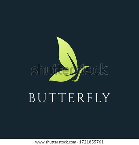 butterfly with leaf logo design