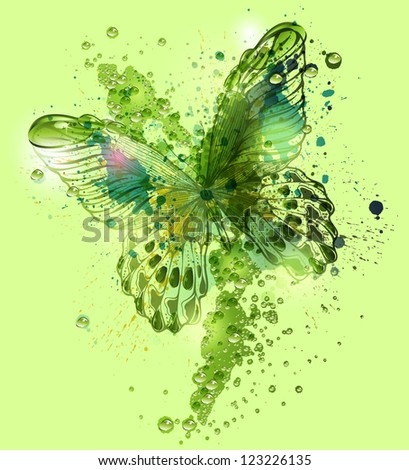 Stock Photo Butterfly with water droplets. Vector illustration. Eps10