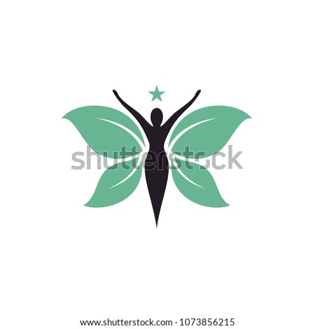 Butterfly Woman with Leaves logo design inspiration