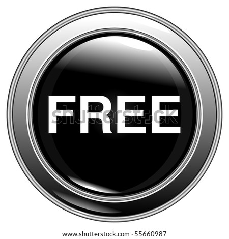 "button black ""free"" on a white background vector eps10"
